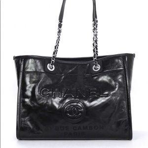 c1bed4b0899f CHANEL Bags   Glazed Calfskin Small Deauville Tote Black   Poshmark